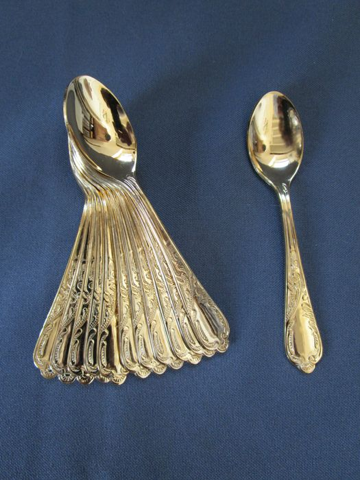 "Luxury cutlery - ""Vienna"" model - 12 small coffee/espresso spoons - 23/24 karat hard gold plated - 1,000 fine gold - unused"