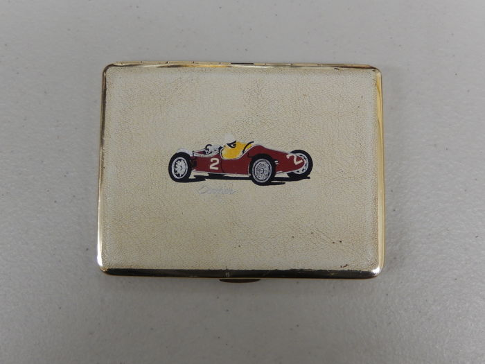 Cooper Single Seater Formula 1 Racing Car - Vintage Metal Case Copper Racing Car Emblem Logo on Front and Gilded Interior