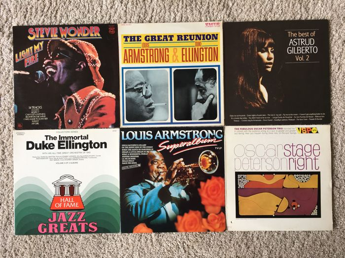 Nice lot of 20 Jazz / Soul albums: Duke Ellington, Louis Armstrong, Oscar Peterson, Astrud Gilberto, Stevie Wonder, Rita Reys and more