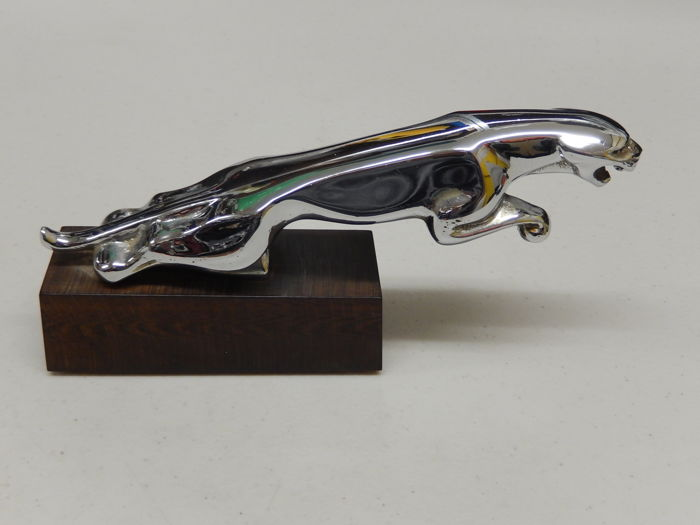 "Jaguar Leaper Jaguar Car 8"" Long Chrome Car Mascot Hood Ornament mounted and ready to display"