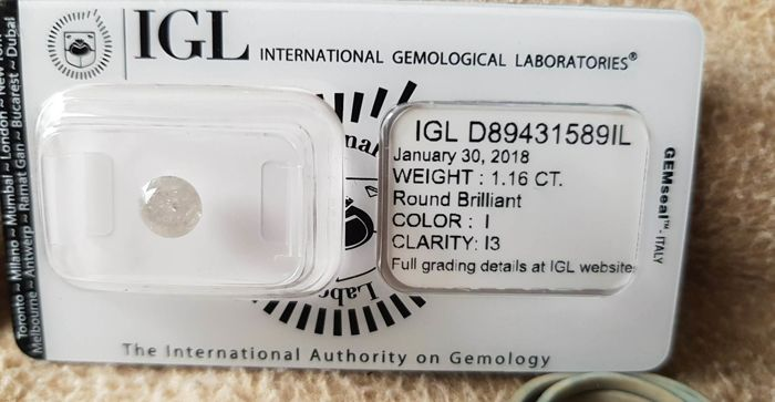 1.16 ct brilliant cut diamond I / I3 ...low reserve