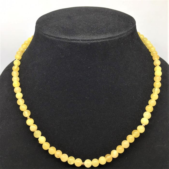 Amber Necklace with Clasp and 9 Beads 14 kt Jellow Gold - Long cm 46 - Diameter mm 6 - NO RESERVE PRICE