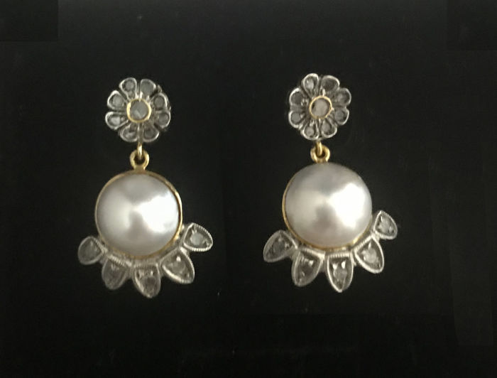 18 carats Or jaune - Boucles d'oreilles - 0.26 ct Diamant - Perle