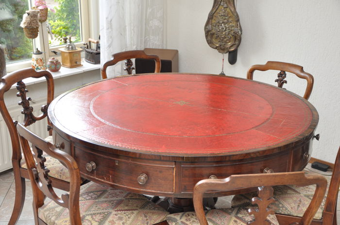 Mahogany U201cdrum Tableu201d With Leather Top In Regency Style And Six Mahogany  Seats In