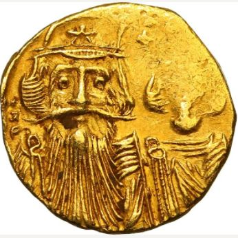 Byzantine Empire - Constans II with Constantine IV, Heraclius and Tiberius (641-668). AV Solidus. Constantinople.