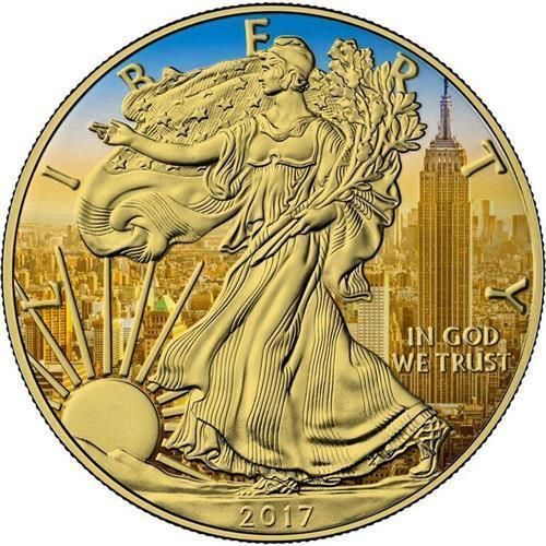USA - 1 Dollar 2017 'Golden Empire State Building' - Silver