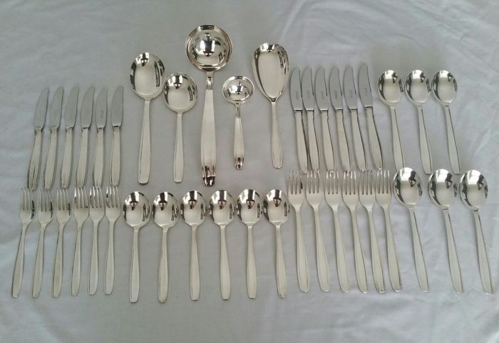 Silver plated cutlery cassette - 6 people/ 41 pieces, model Progression, Georg Nilsson, Gero 90