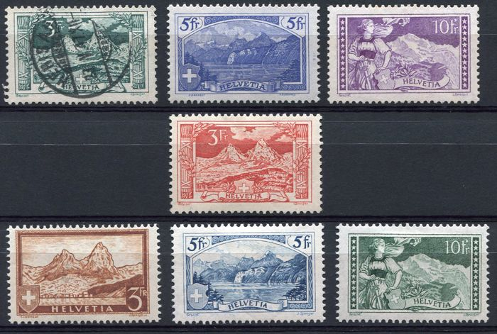 Switzerland 1914/1928  - Selection semi-classics - Michel 121/23, 142, 226/228