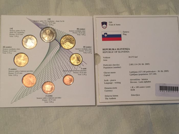 lot of 30 coins Slovenia uncirculated from 2007 10 x 1, 2 and 5 cent