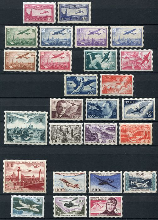 France 1930/59 - Airmail - Yvert no. 5, 6, 8/13, 16/28, 30, 31, 33, 34, 35, 37