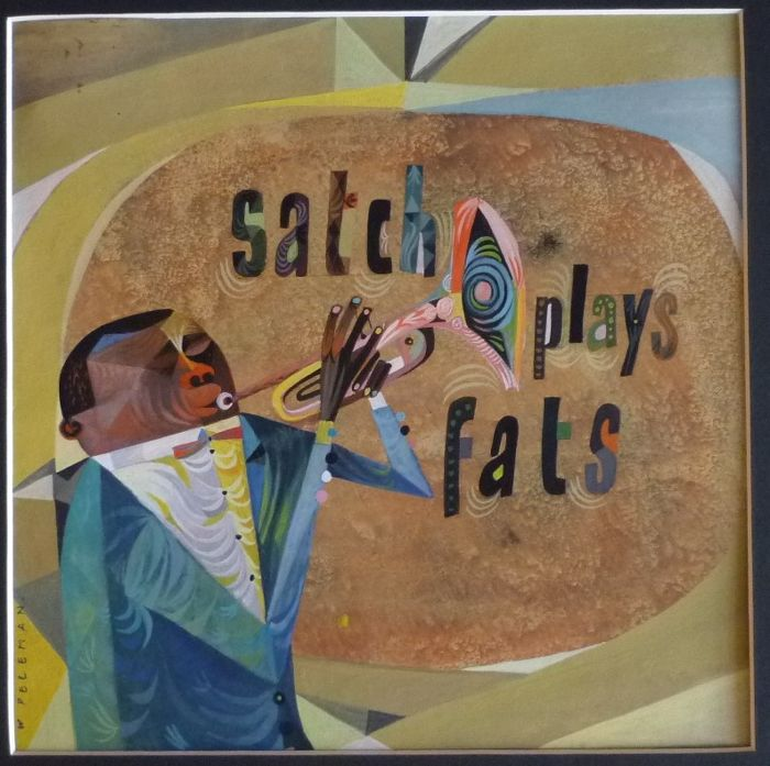 Satch plays Fats- Original gouache art work for this Jazz LP-Album-cover by Wies Peleman -1950's