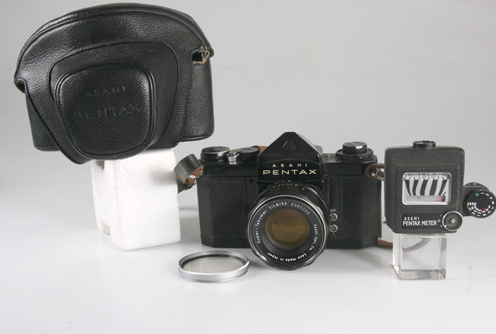 "Asahi Pentax S1A with light meter and the accompanying special ""camel"" ever-ready"