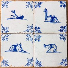 Block with 4 Dutch Tiles painted with animals, 17th Century
