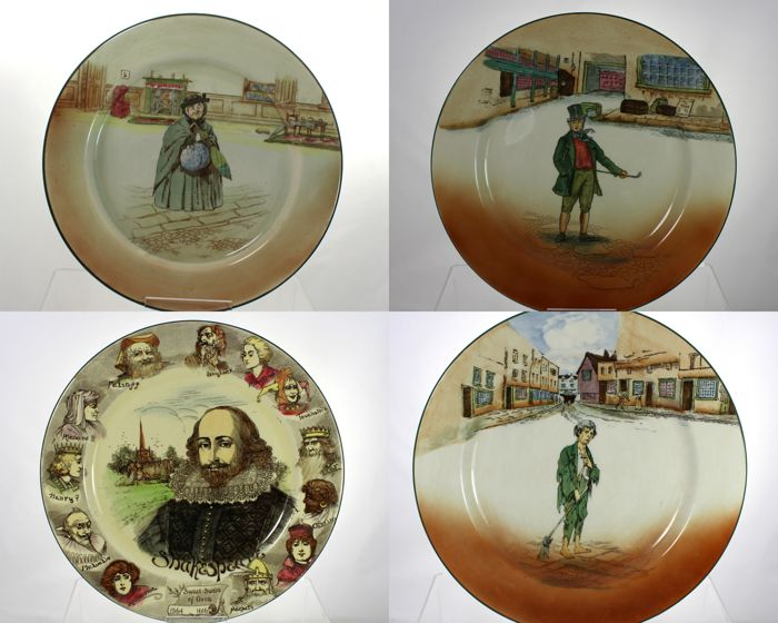 Royal Doulton - Collection of 4 decorative plates - Dickens and Shakespeare