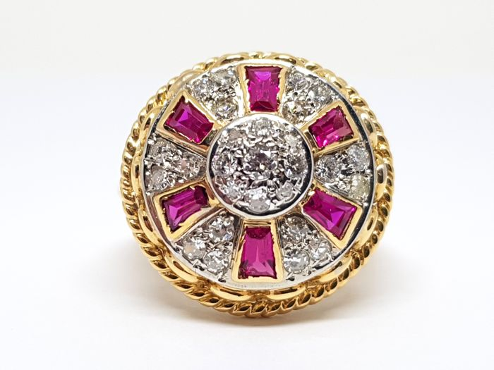 18 kt. Gold - Ring - 2.20 ct Diamond - Ruby