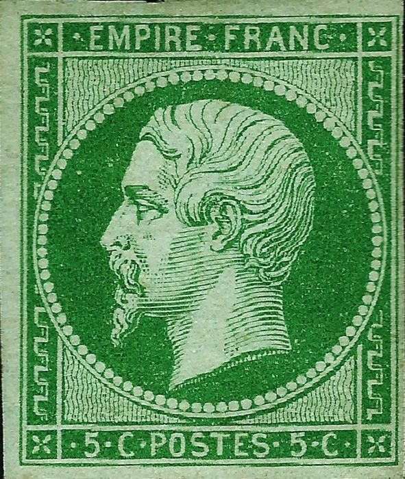 France 1860 – Empire imperforated 5 centimes green with dark shades – Yvert 12