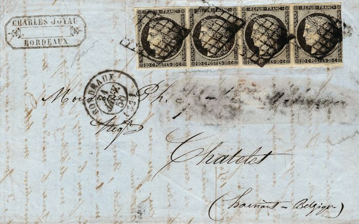 France 1850 - 20 Centimes black strip of 4 on letter with double postage for Belgium signed Baudot - Yvert #3