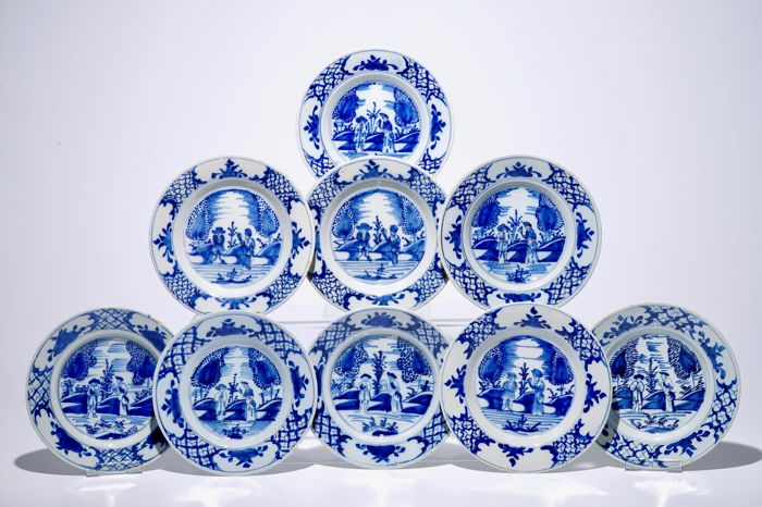 A set of nine (almost) identical blue-white Delft plates middle of  sc 1 st  auctions - Catawiki & A set of nine (almost) identical blue-white Delft plates middle of ...