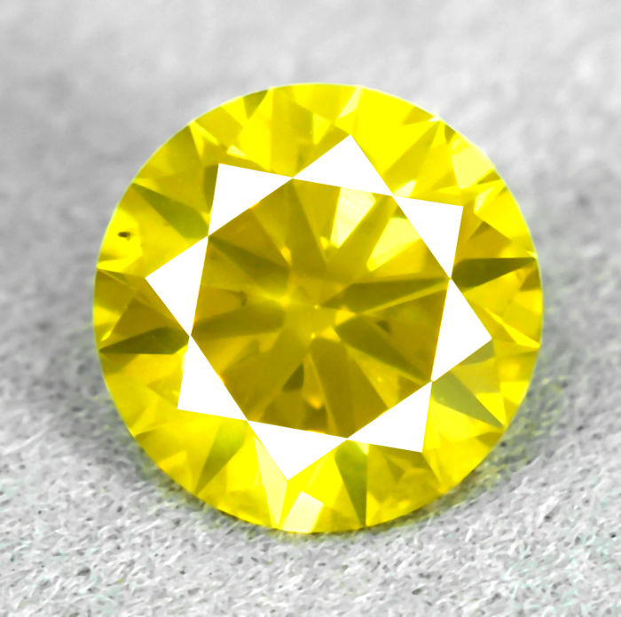 Diamant - 1.34 ct - Brillant - Fancy Intense Yellow - Si1 - NO RESERVE PRICE - VG/VG/VG