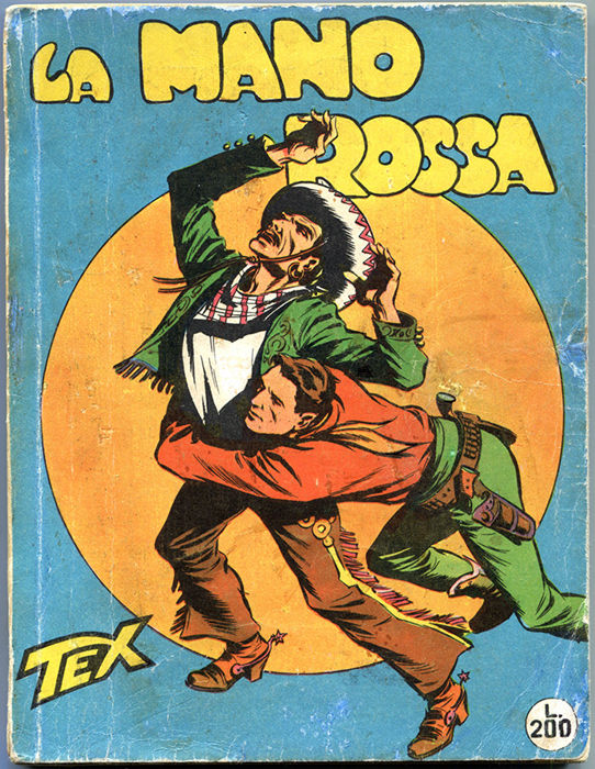 "Tex, giant format, no. 1 ""La Mano Rossa"", censored edition, Aut. 478, stapled"