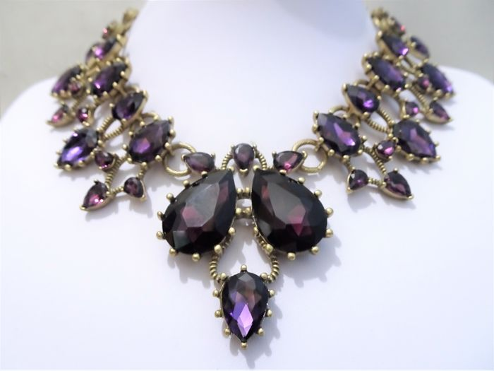 02310ec24 Oscar de la Renta - Gold Purple Swarovski Crystal Statement Necklace