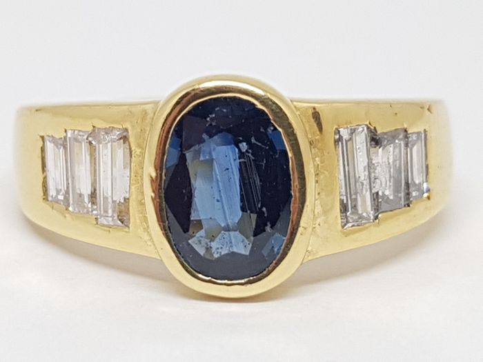 Diamond and Blue Sapphire Ring total: 3,00ct. - size 53 / 17,00mm