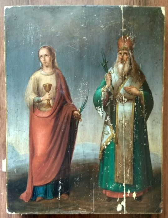 Russian icon - The St. Varvara and St. Nikon - late 19th century)