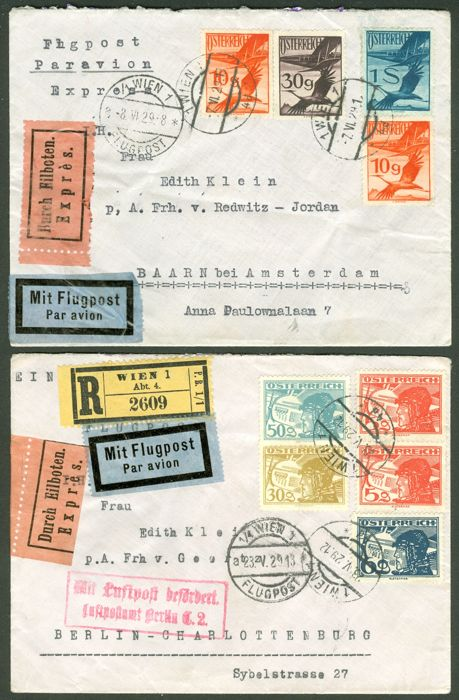 Austria 1930s - 20 airmail postal items to 14 different countries