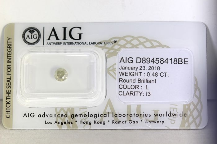 AIG Diamond - 0.48 ct - L, I3 - * NO RESERVE PRICE *