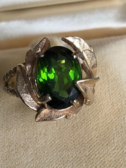 Gold ring with 5 ct tourmaline, handmade