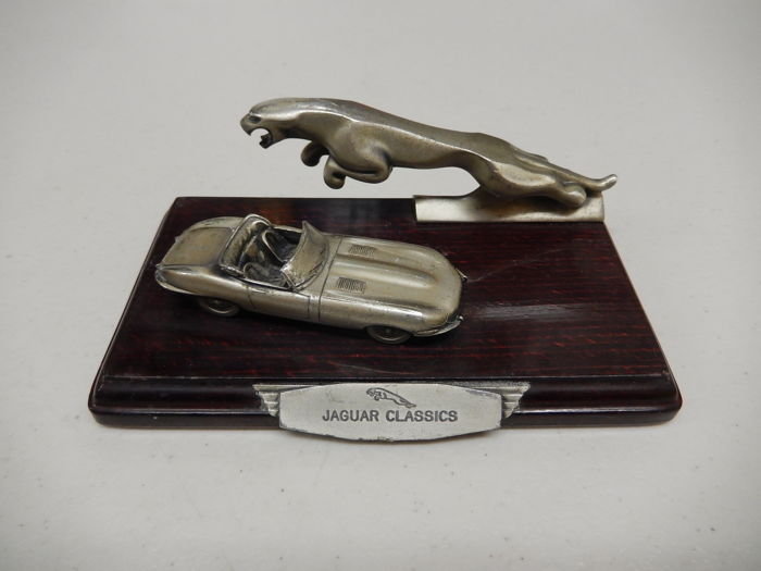 "Jaguar -  E Type Metal Model and Jaguar Leaper 5"" Size Model Car Display on Lacquered Wooden Base Labelled Jaguar Classics"