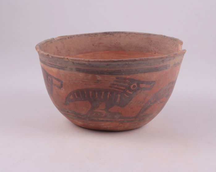Indus Valley pottery bowl with strange animal decoration - 10,0 x 5,2 cm  ///No reserve price///