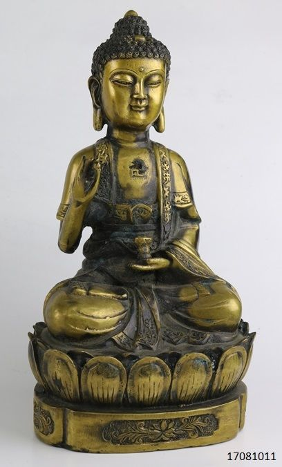 Bronze Buddha statue - China - late-20th century (25 cm)