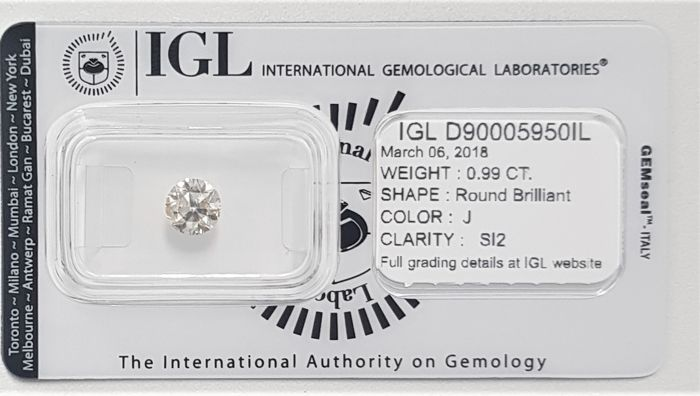 0.99 ct - Natural White Diamond - J Color - SI2 - VG/VG/VG - No Reserve!