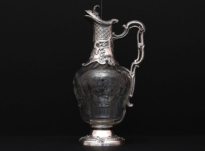 Sterling silver and glass decanter,   -Edouard Ernie  -France 1880-1889