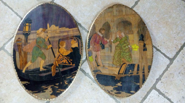 Scenes of Venice gondola on wood - pyrography in colour with gilding - c.1900 Italy