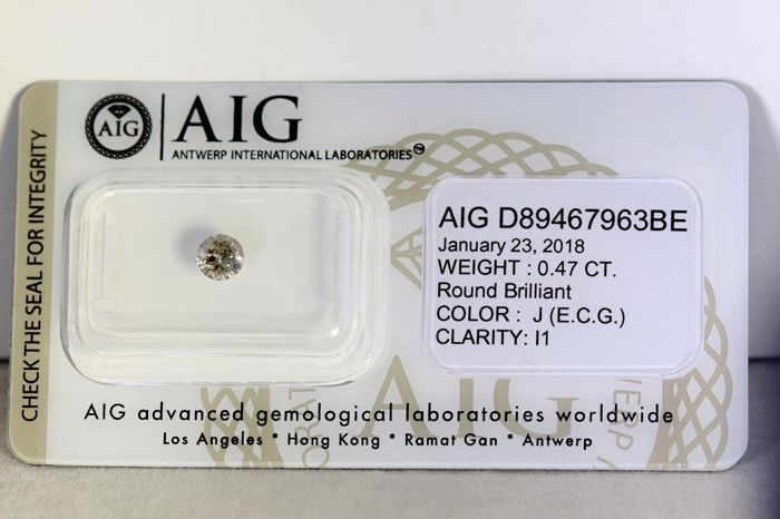 AIG Diamond - 0.47 ct - J , I1 -  * NO RESERVE PRICE *