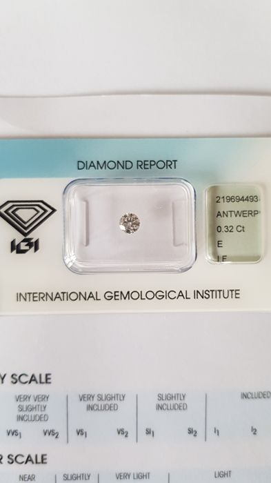 Brilliant of 0.32 ct, E, IF, IGI certified