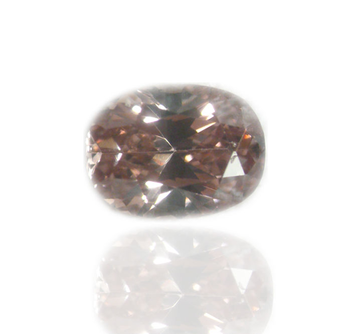 1 pcs Diamant - 0.09 ct - Oval - fancy brownish orangy pink - SI2