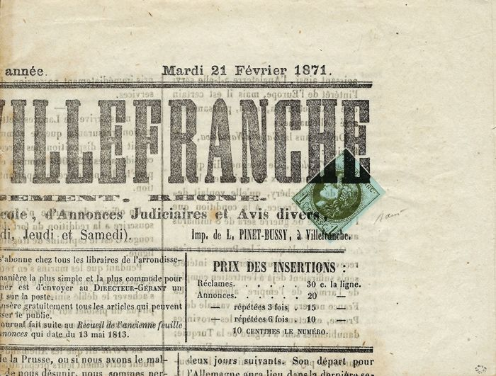 France 1871 - Very rare edition from Bordeaux 1 Centime olive report II typographic cancellation on complete journal. Signed Roumet Yvert #39