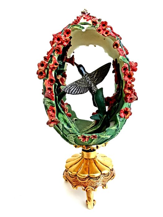 House of Fabergé - The Friends in The Garden hand-crafted egg with 24 carat gold presentation foot