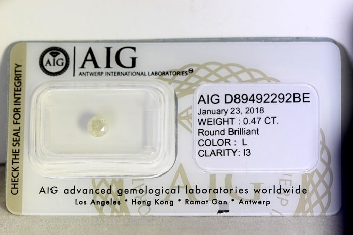 AIG Sealed Diamond - 0.47 ct - L, I3 - * NO RESERVE PRICE *