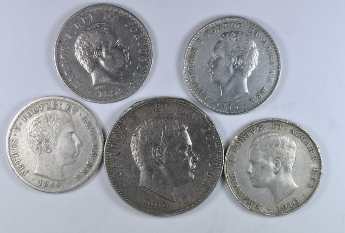 Portugal Monarchy – D. Pedro V/D. Luís I and D. Carlos I – 500 Reis – 1859/1879/1891 and 1910 – 'Centenary of the Peninsular War' – 1000 Reis – 1899 – Silver