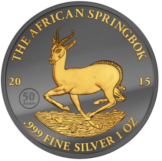 Gabon - 1000 Francs 2015 'African Springbok' Black Ruthenium & Gold edition - 1 oz silver