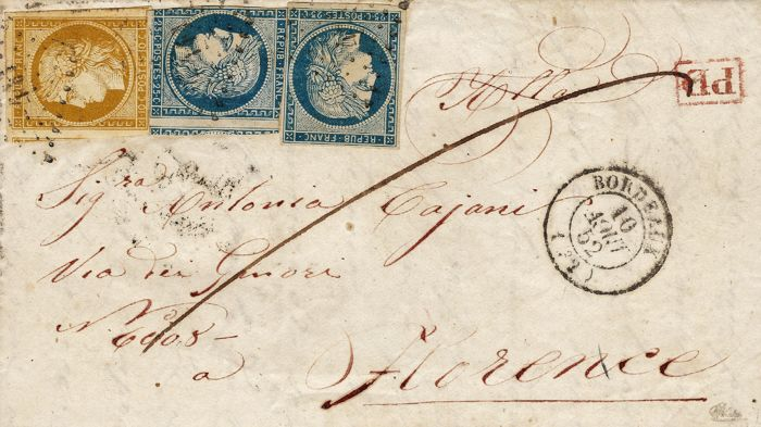 France 1852 - Letter with destination Florence with 10c yellow bistre and two units of 25 centimes blue – Yvert no. 1 and 4