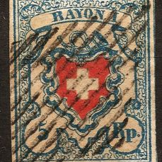 Switzerland 1851 - Rayon I light blue stone B1 + signs of mount