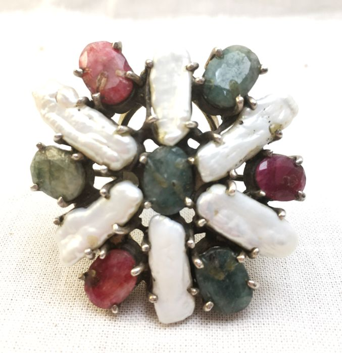 925 silver ring with baroque pearls and ruby and emerald roots - 1.8 cm finger diameter