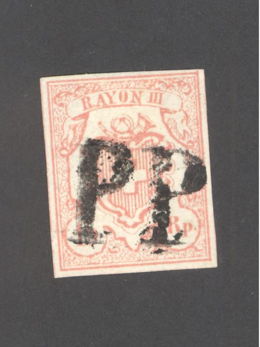 Switzerland 1852 - Rayon III 15 Rp. red, type 5, stone UR-II-Certificate Berra and signed Moser-Zumstein 20
