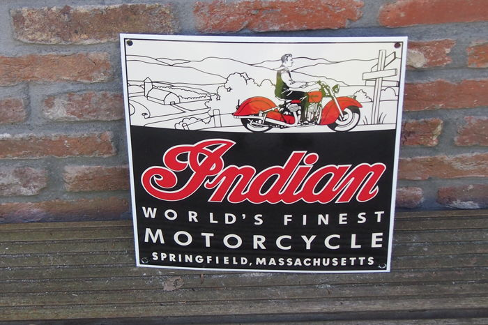 Enamel sign INDIAN MOTORCYCLE - 20th century