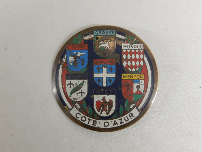 Vintage Brass and Paint Cote D'Azur Multi Flag Car Badge Auto Emblem